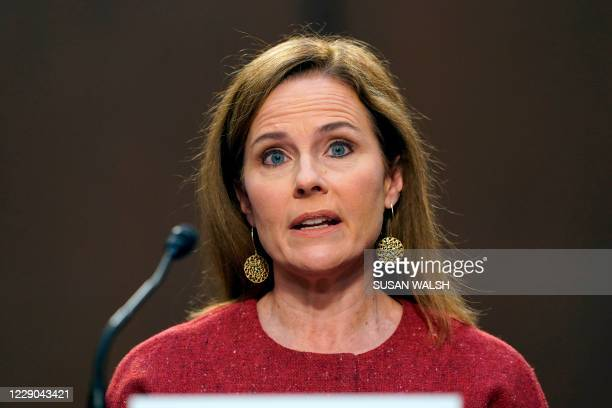 Supreme Court nominee Amy Coney Barrett speaks during a confirmation hearing before the Senate Judiciary Committee, October 13 on Capitol Hill in...
