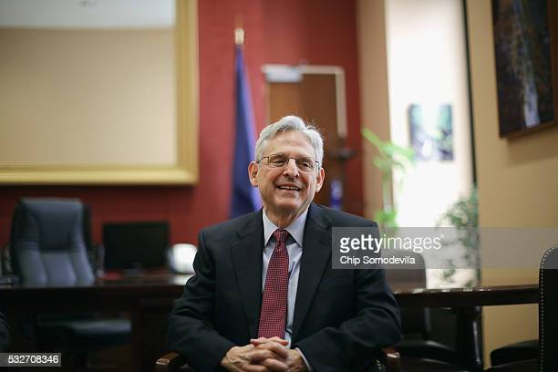 Supreme Court nominee and chief judge of the United States Court of Appeals for the District of Columbia Circuit Merrick Garland meets with Sen. Jeff...