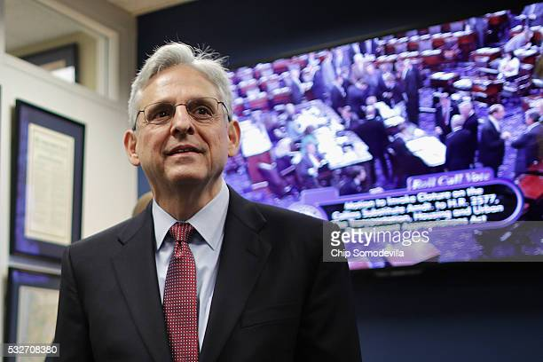 Supreme Court nominee and chief judge of the United States Court of Appeals for the District of Columbia Circuit Merrick Garland waits for the...