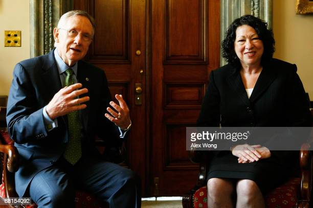 S Supreme Court nominee and Federal Appeals Court judge Sonia Sotomayor meets with Senate Democratic Leader Sen Harry Reid on Capitol Hill June 2...