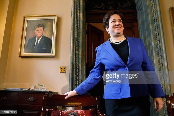 Supreme Court nominee and Solicitor General Elena Kagan arrives for a meeting with Senate Majority Leader Sen. Harry Reid while visiting with members...