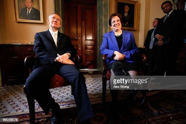 Supreme Court nominee and Solicitor General Elena Kagan meets with Senate Majority Leader Sen. Harry Reid while visiting with members of the Senate...