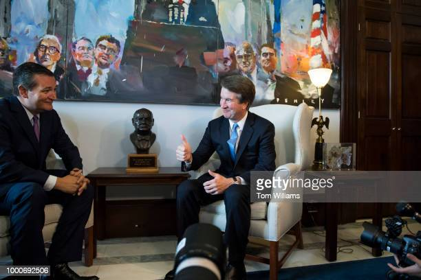 Supreme Court nominee Brett Kavanaugh, right, and Sen. Ted Cruz, R-Texas, conduct a photo-op in Russell Building before a meeting on July 17, 2018.