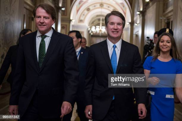 Supreme Court nominee Brett Kavanaugh right and White House counsel Don McGahn are seen in the Capitol after meetings with senators on July 10 2018