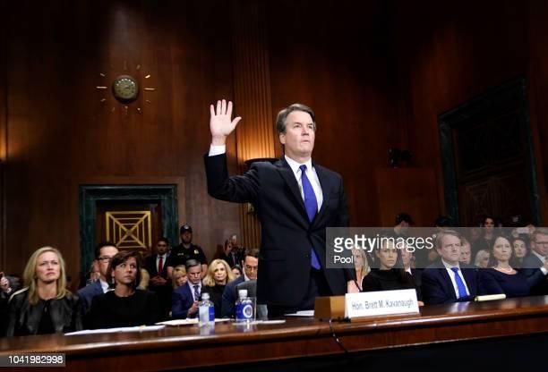 Supreme Court nominee Brett Kavanaugh testifies before the Senate Judiciary Committee at the Dirksen Senate Office Building on Capitol Hill September...
