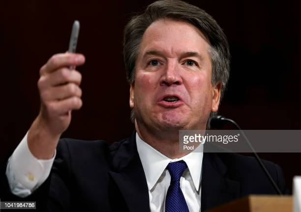 S Supreme Court nominee Brett Kavanaugh testifies before the Senate Judiciary Committee at the Dirksen Senate Office Building on Capitol Hill...