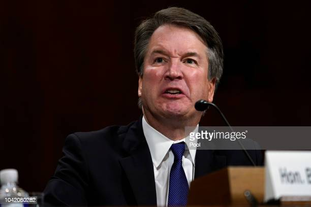 Supreme Court nominee Brett Kavanaugh testifies before the Senate Judiciary Committee on Capitol Hill on September 27, 2018 in Washington, DC....