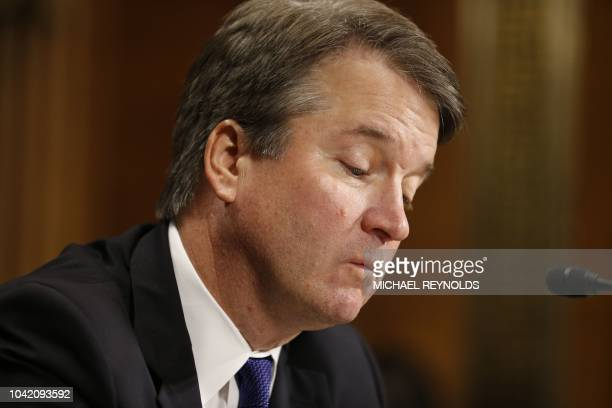 Supreme court nominee Brett Kavanaugh testifies before the Senate Judiciary Committee on Capitol Hill in Washington DC on September 27 2018...