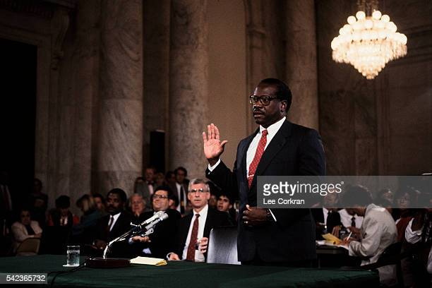 Supreme Court nominee Clarence Thomas participates in his Senate confirmation hearings.