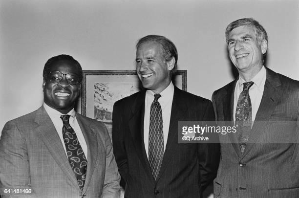 Supreme Court nominee Clarence Thomas, Senator Joe Biden of Delaware, and Senator John Danforth of Missouri in Biden's office. June 14, 1993