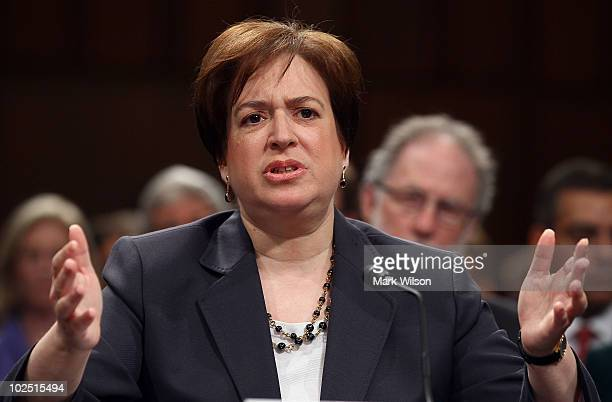 Supreme Court nominee Elena Kagan answers questions from members of the Senate Judiciary Committee on the second day of her confirmation hearings on...