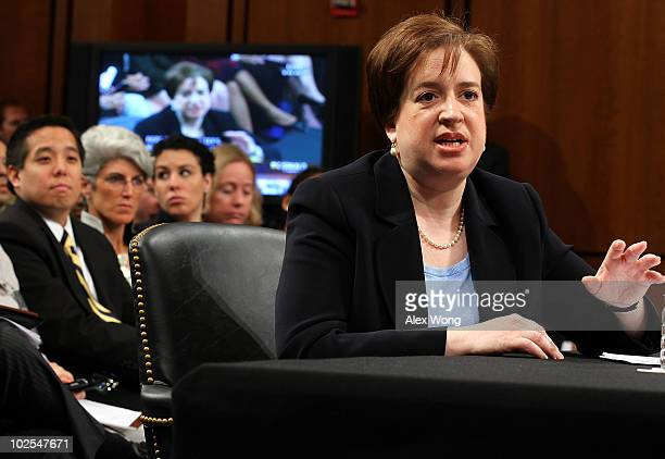 Supreme Court nominee Elena Kagan answers questions from members of the Senate Judiciary Committee on the third day of her confirmation hearings on...