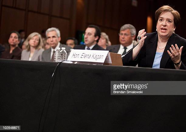 S Supreme Court nominee Elena Kagan answers questions from members of the Senate Judiciary Committee on the third day of her confirmation hearings on...