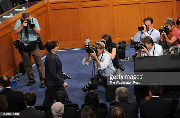 Supreme Court nominee Elena Kagan enters the hearing room for day two of her Supreme Court confirmation hearing on Tuesday June 29 2010
