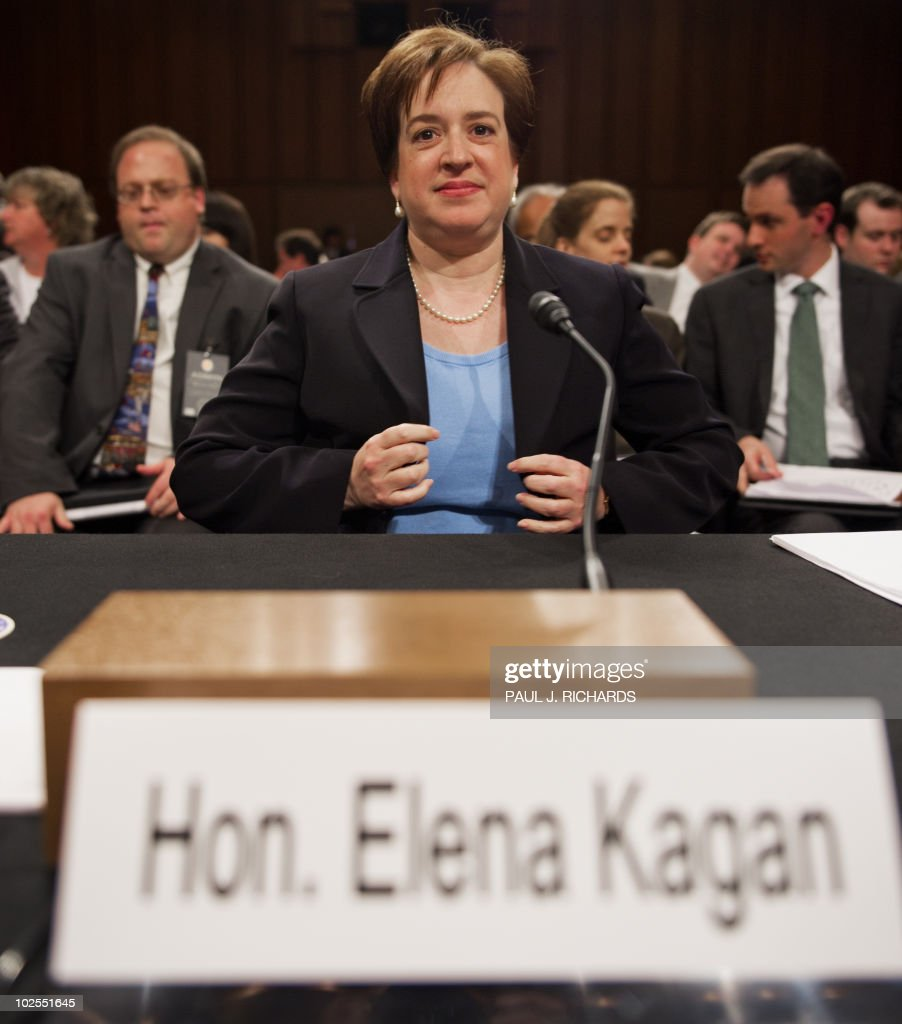US Supreme Court nominee Elena Kagan takes her seat before answering questions before the Senate Judiciary Committee for her confirmation hearing on Capitol Hill in Washington on June 30, 2010. If confirmed, she would be the first non-judge in nearly four decades to reach the summit of US justice, and at 50 would be the youngest member of the court. AFP PHOTO/Paul J. Richards