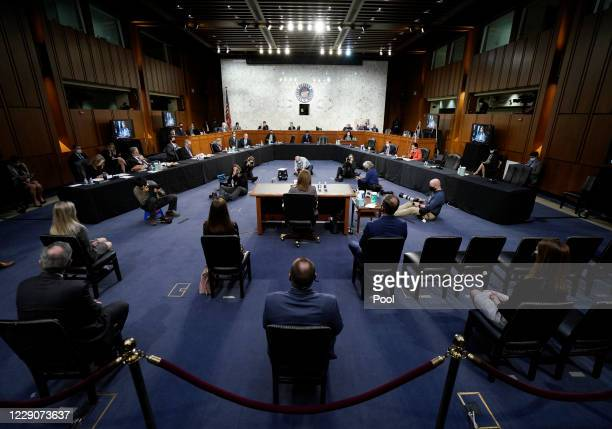 Supreme Court nominee Judge Amy Coney Barrett appears before the Senate Judiciary Committee on the third day of her Supreme Court confirmation...