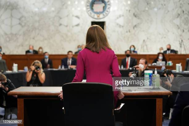 Supreme Court nominee Judge Amy Coney Barrett arrives to her Senate Judiciary Committee confirmation hearing on Capitol Hill on October 12, 2020 in...