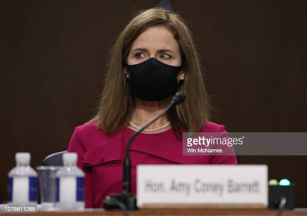 Supreme Court nominee Judge Amy Coney Barrett attends her Senate Judiciary Committee confirmation hearing on Capitol Hill on October 12, 2020 in...