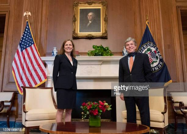 Supreme Court nominee Judge Amy Coney Barrett meets with Sen. Roy Blunt, on October 21, 2020 in Washington, DC. President Donald Trump nominated...