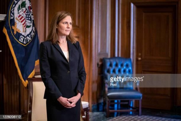 Supreme Court nominee Judge Amy Coney Barrett meets with U.S. Sen. James Lankford on October 21, 2020 in Washington, DC. President Donald Trump...