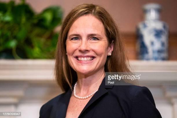 Supreme Court nominee Judge Amy Coney Barrett meets with U.S. Sen. Martha McSally on October 21, 2020 in Washington, DC. President Donald Trump...