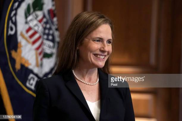 Supreme Court nominee Judge Amy Coney Barrett participates in a photo op with Sen. Martha McSally in the Mansfield Room of the U.S. Capitol prior to...