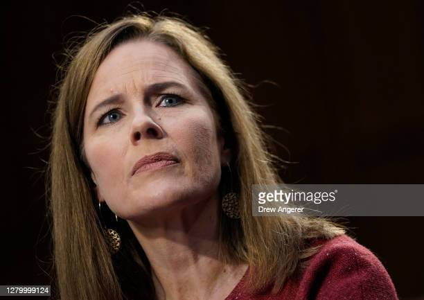 Supreme Court nominee Judge Amy Coney Barrett participates in the second day of her Senate Judiciary committee confirmation hearing on Capitol Hill...