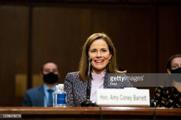 Supreme Court nominee Judge Amy Coney Barrett testifies before the Senate Judiciary Committee on the third day of her Supreme Court confirmation...