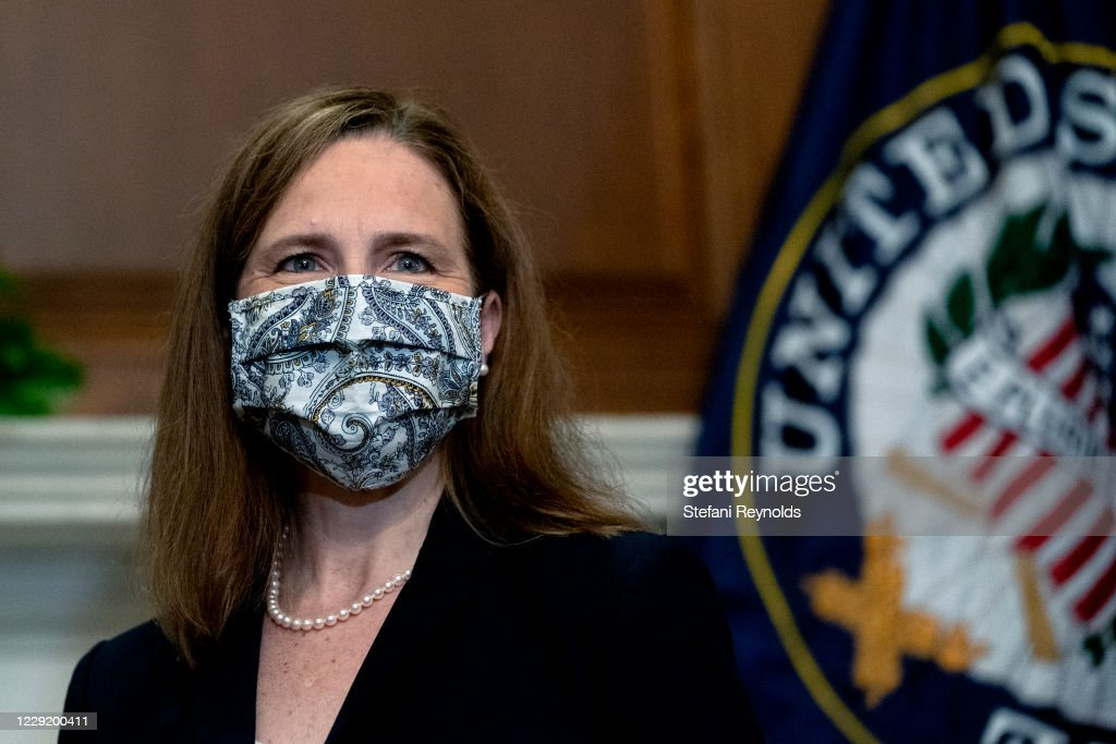 Supreme Court Justice Nominee Amy Coney Barrett Meets With Senators Ahead Of Confirmation Vote : News Photo