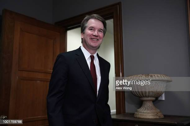Supreme Court nominee Judge Brett Kavanaugh arrives at a meeting with US Sen Bob Corker on Capitol Hill July 18 2018 in Washington DC Kavanaugh is...