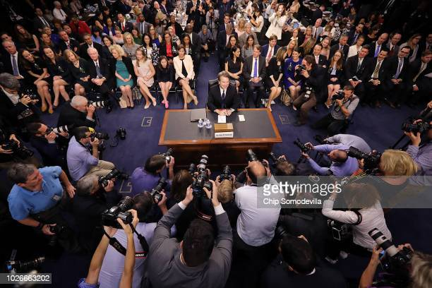 Supreme Court nominee Judge Brett Kavanaugh arrives for testimony before the Senate Judiciary Committee during his Supreme Court confirmation hearing...