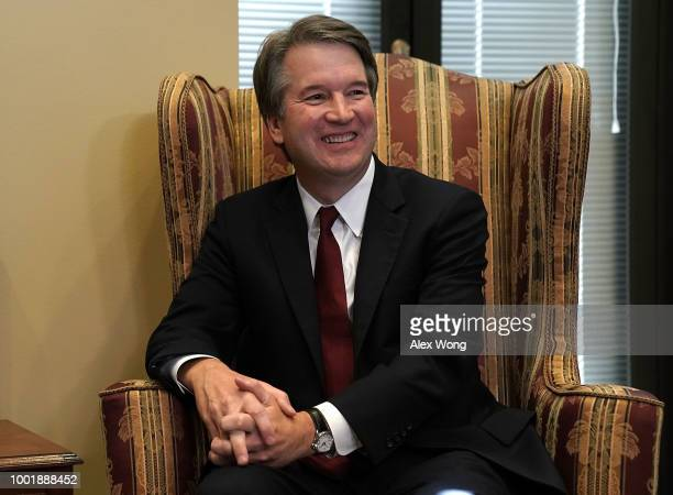 Supreme Court nominee Judge Brett Kavanaugh during a meeting with US Sen Dean Heller on Capitol Hill July 18 2018 in Washington DC Kavanaugh is...