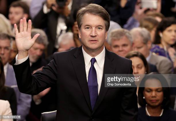 Supreme Court nominee Judge Brett Kavanaugh is sworn in before the Senate Judiciary Committee during his Supreme Court confirmation hearing in the...