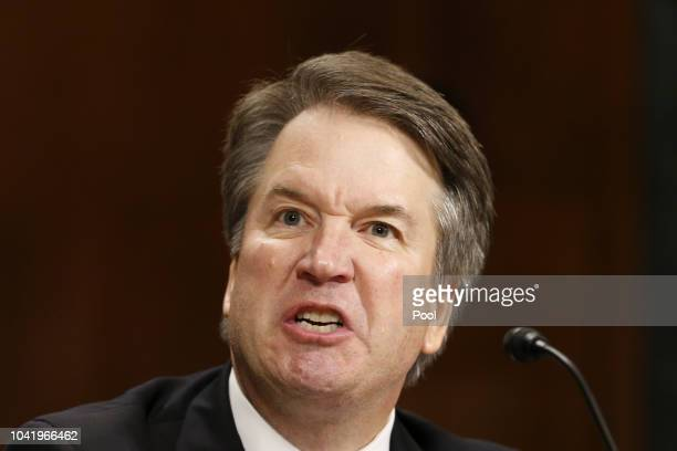 Supreme Court nominee Judge Brett Kavanaugh speaks at the Senate Judiciary Committee hearing on the nomination of Brett Kavanaugh to be an associate...