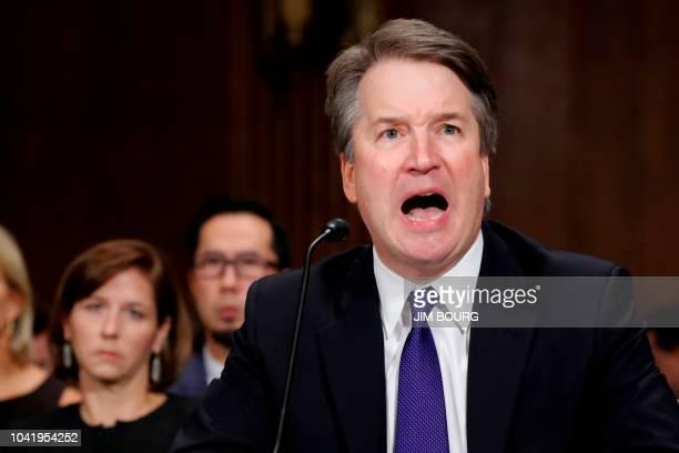 Supreme Court nominee Judge Brett Kavanaugh testifies before the Senate Judiciary Committee on Capitol Hill in Washington, DC, on September 27, 2018....