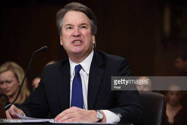 Supreme Court nominee Judge Brett Kavanaugh testifies before the US Senate Judiciary Committee in the Dirksen Senate Office Building on Capitol Hill...
