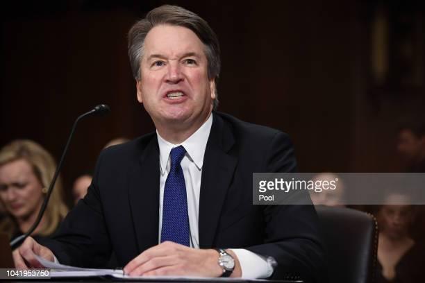 Supreme Court nominee Judge Brett Kavanaugh testifies before the US Senate Judiciary Committee in the Dirksen Senate Office Building on Capitol Hill...