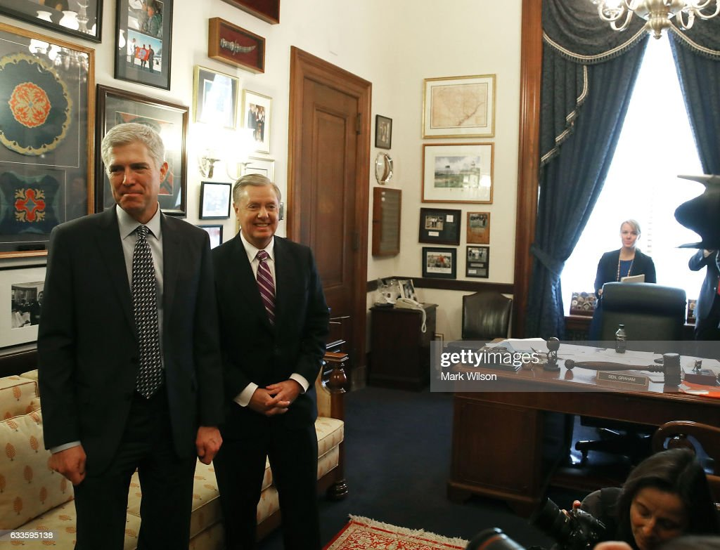 Supreme Court nominee Judge Neil Gorsuch meets with Sen. Lindsey Graham (R-SC) in his office on Capitol Hill February 2, 2017 in Washington, DC. President Donald Trump nominated Judge Gorsuch to the Supreme Court to fill the seat that had left vacant with the death of Associate Justice Antonin Scalia in February 2016.