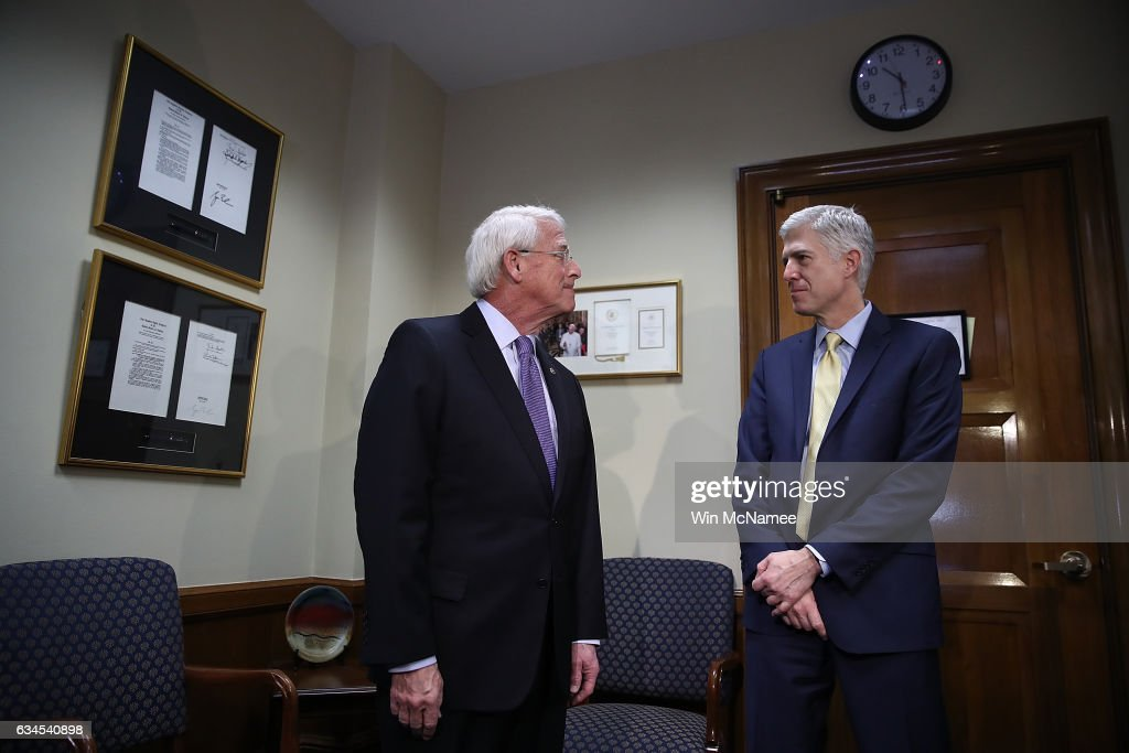 U.S. Supreme Court nominee Judge Neil Gorsuch (R) meets with Sen. Roger Wicker (L) (R-MS) in Wicker's office on Capitol Hill February 10, 2017 in Washington, DC. Gorsuch continues to meet with members of the U.S. Senate who are expected to take up his nomination in several weeks.