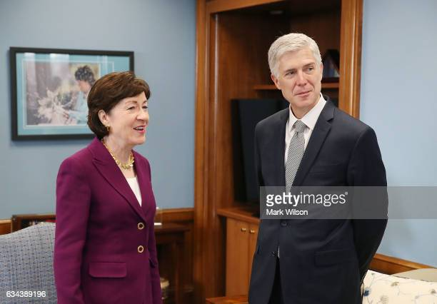 Supreme Court nominee Judge Neil Gorsuch meets with Sen Susan Collins in her office on Capitol Hill February 9 2017 in Washington DC President Donald...