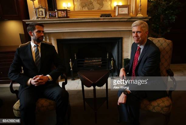 S Supreme Court nominee Judge Neil Gorsuch meets with Sen Tom Cotton in Cotton's office February 8 2017 in Washington DC Gorsuch continued his visits...