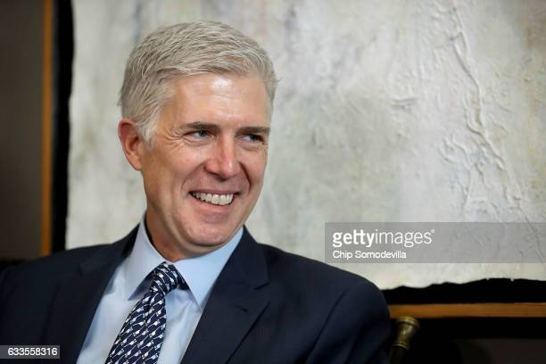 Supreme Court nominee Judge Neil Gorsuch meets with Senate Foreign Relations Committee Chairman Bob Corker in the Dirksen Senate Office Building on...