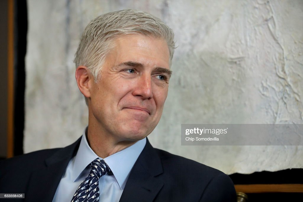 Trump's Supreme Court Nominee Neil Gorsuch Meets With Senators On Capitol Hill : News Photo