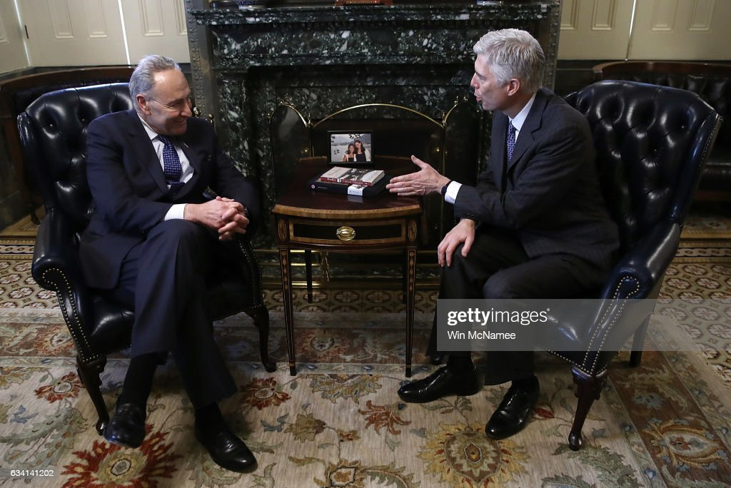 U.S. Supreme Court nominee Judge Neil Gorsuch (R) meets with Senate Minority Leader Chuck Schumer (L) (D-NY) in Schumer's office at the U.S. Capitol on February 7, 2017 in Washington, DC. Gorsuch is meeting with senators from both parties over the next few weeks.