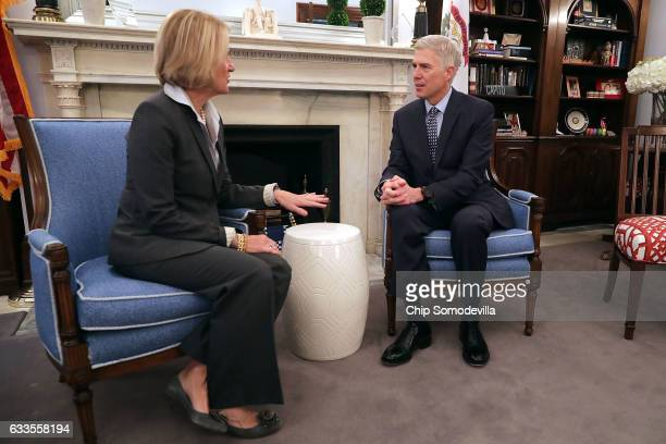 Supreme Court nominee Judge Neil Gorsuch meets with with Sen Shelley Moore Capito at the Russell Senate Office Building on Capitol Hill February 2...