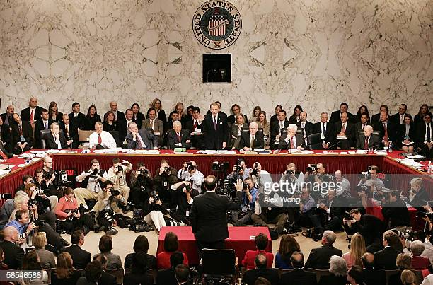 S Supreme Court nominee Judge Samuel Alito is sworn in by Senate Judiciary Committee Chairman Sen Arlen Specter during his confirmation hearings on...