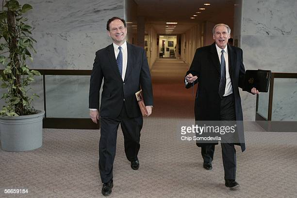 Supreme Court nominee Judge Samuel Alito Jr and former Indiana Senator Dan Coats arrive at the Hart Senate Office Building for a meeting with US Sen...