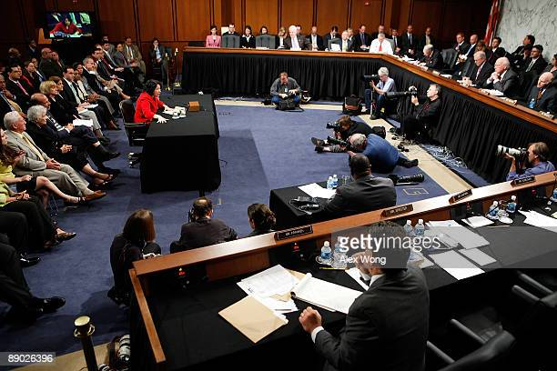 Supreme Court nominee Judge Sonia Sotomayor answers questions during the second day of her confirmation hearings on Capitol Hill July 14 2009 in...