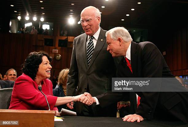 Supreme Court nominee Judge Sonia Sotomayor Chairman Patrick Leahy and Sen Jeff Sessions greet each other during the fourth day of confirmation...