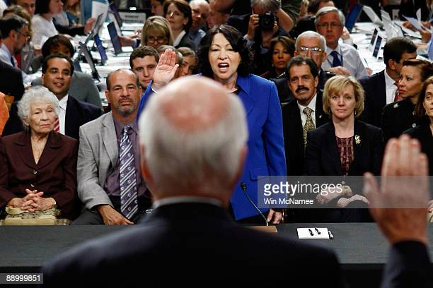 Supreme Court nominee Judge Sonia Sotomayor is sworn in by committee chairman Sen Patrick Leahy during her confirmation hearing before the Senate...